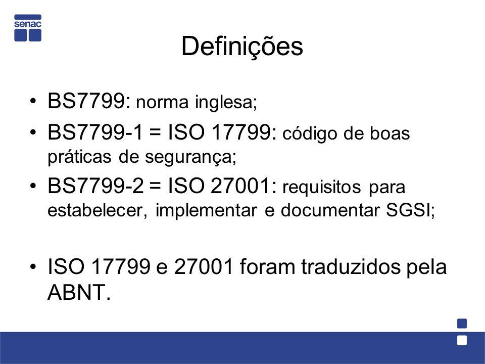 Definições BS7799: norma inglesa;