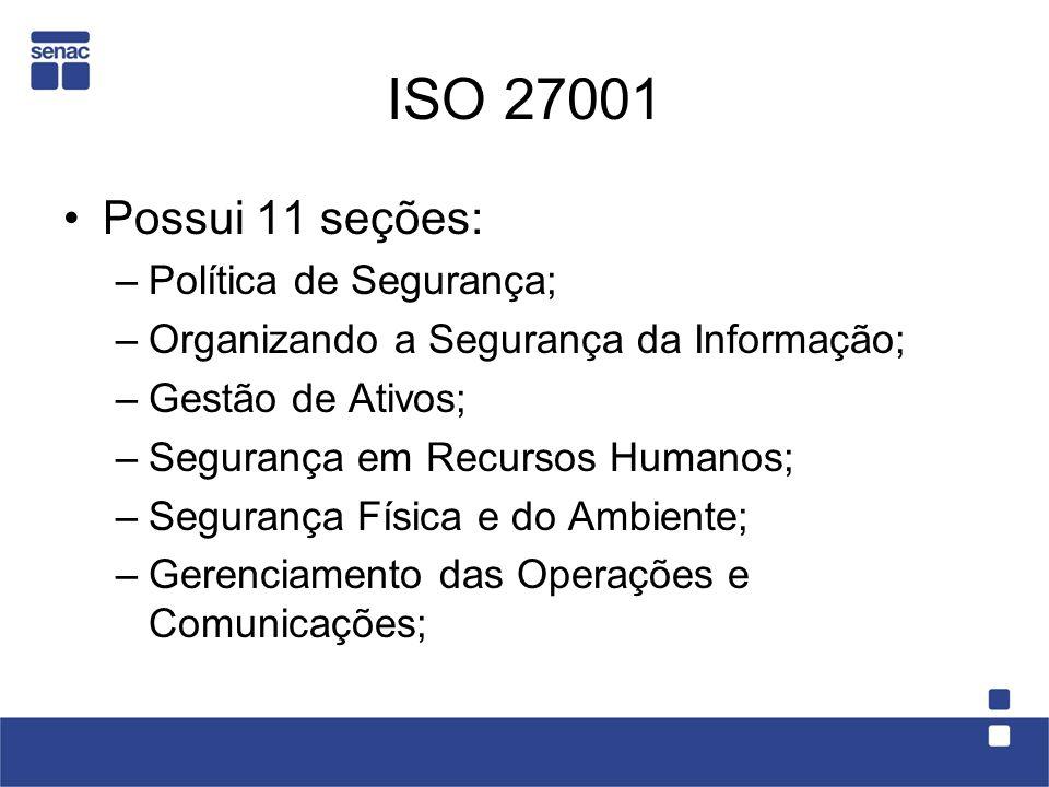 ISO 27001 Possui 11 seções: Política de Segurança;