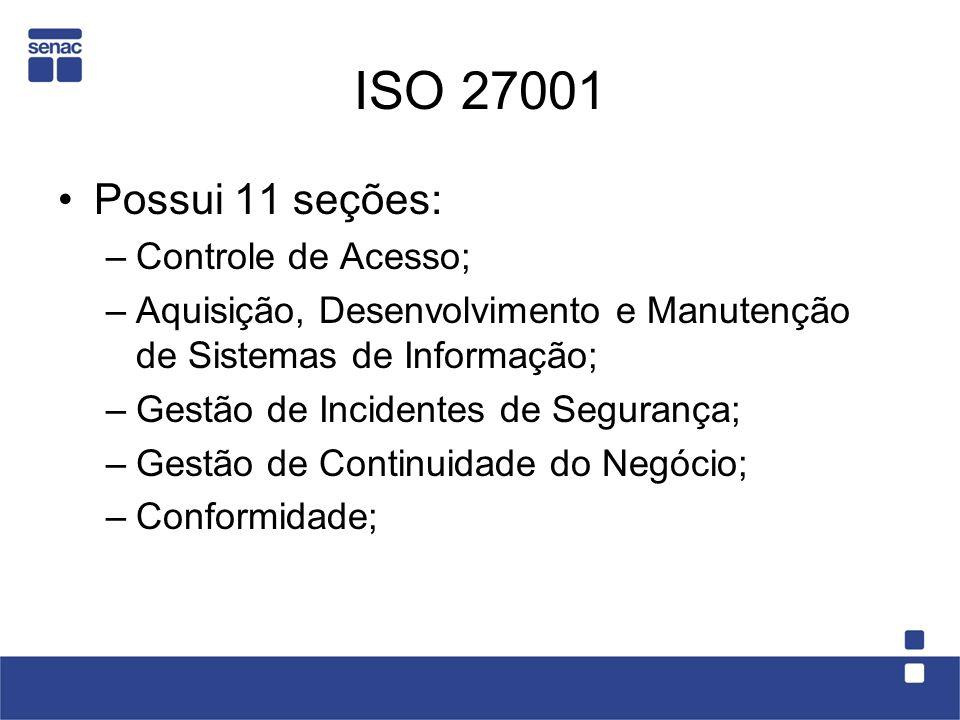ISO 27001 Possui 11 seções: Controle de Acesso;