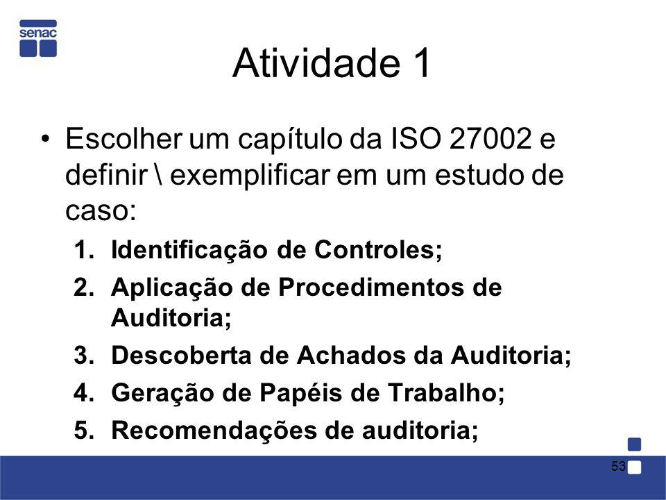 Atividade 1Escolher um capítulo da ISO 27002 e definir \ exemplificar em um estudo de caso: Identificação de Controles;