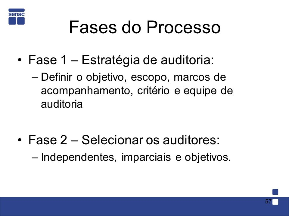 Fases do Processo Fase 1 – Estratégia de auditoria: