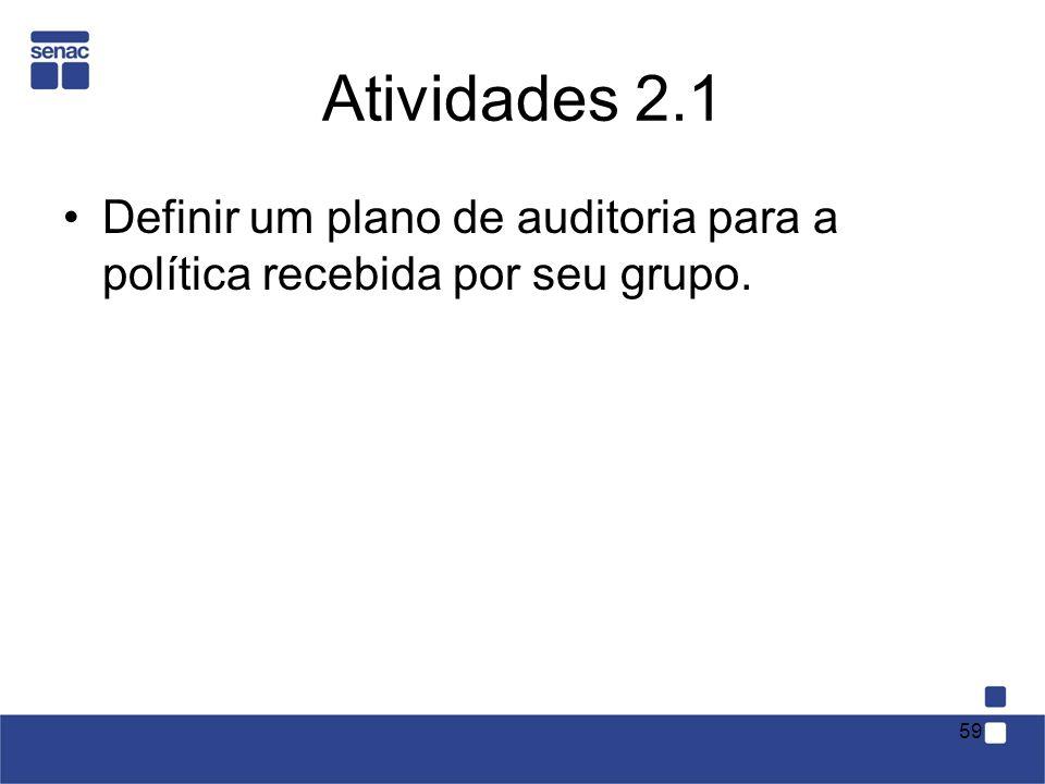 Atividades 2.1 Definir um plano de auditoria para a política recebida por seu grupo.