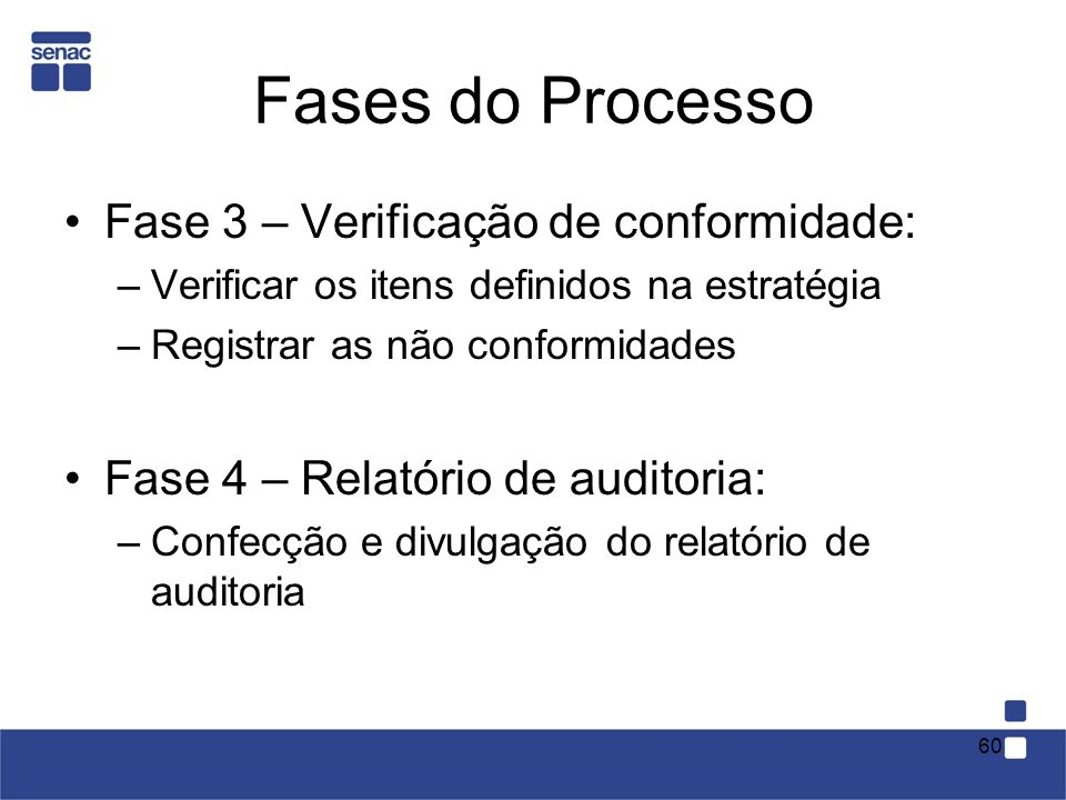 Fases do Processo Fase 3 – Verificação de conformidade: