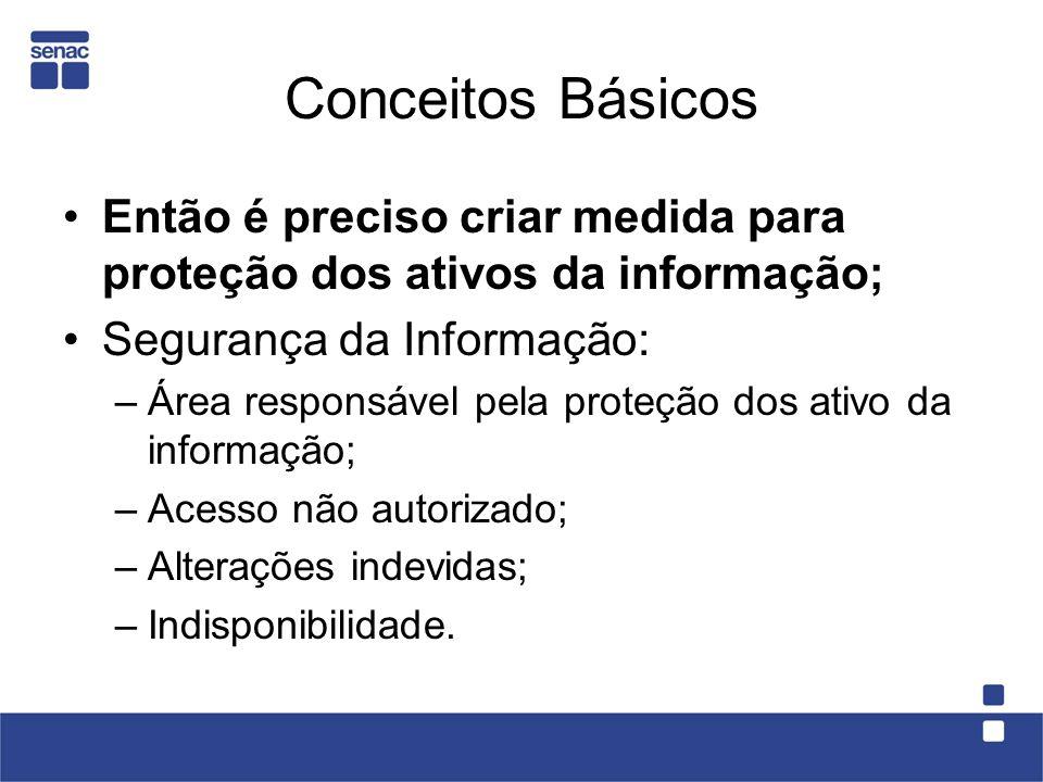 Conceitos Básicos Então é preciso criar medida para proteção dos ativos da informação; Segurança da Informação: