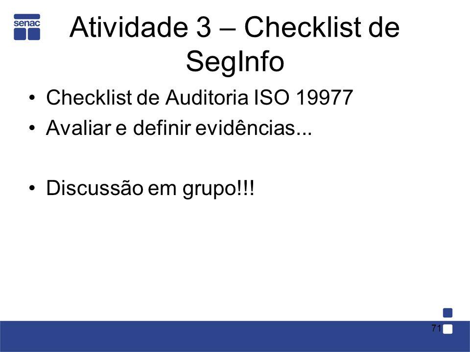 Atividade 3 – Checklist de SegInfo