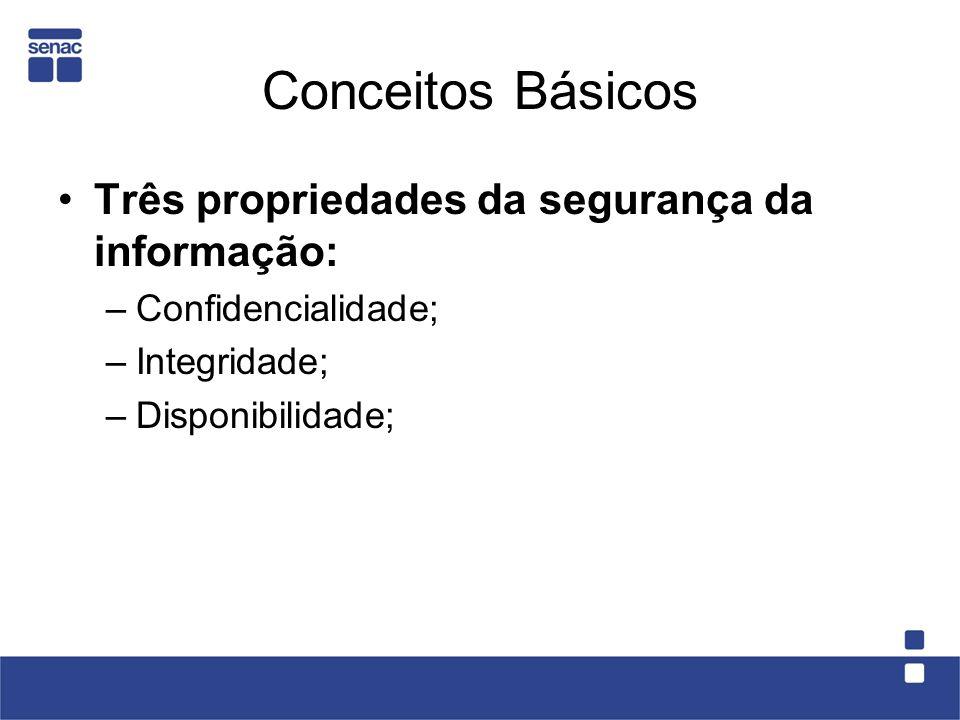 Conceitos Básicos Três propriedades da segurança da informação: