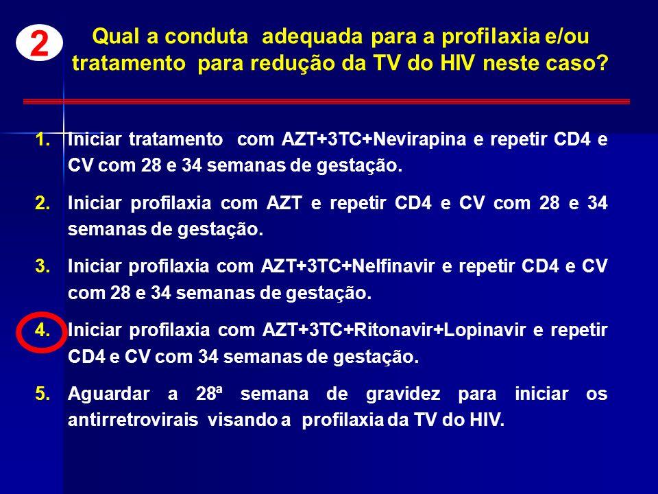 Qual a conduta adequada para a profilaxia e/ou tratamento para redução da TV do HIV neste caso