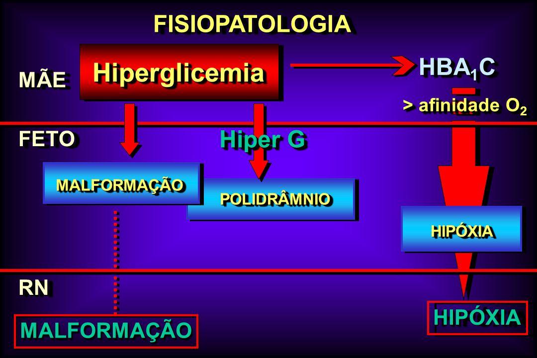 Hiperglicemia FISIOPATOLOGIA HBA1C Hiper G MÃE FETO RN HIPÓXIA
