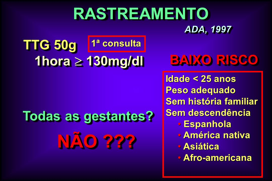 NÃO RASTREAMENTO TTG 50g 1hora  130mg/dl BAIXO RISCO