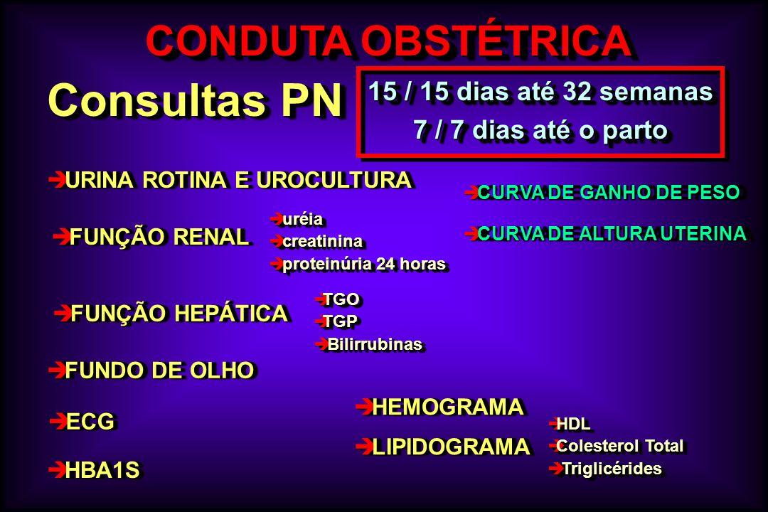 Consultas PN CONDUTA OBSTÉTRICA 15 / 15 dias até 32 semanas