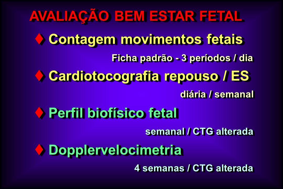 AVALIAÇÃO BEM ESTAR FETAL Contagem movimentos fetais