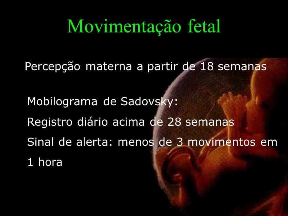 Movimentação fetal Percepção materna a partir de 18 semanas