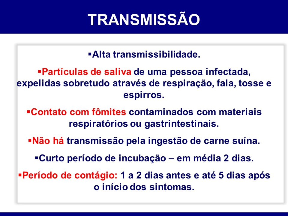 TRANSMISSÃO Alta transmissibilidade.