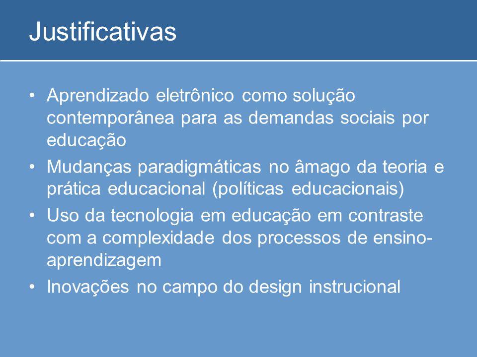 Justificativas Aprendizado eletrônico como solução contemporânea para as demandas sociais por educação.