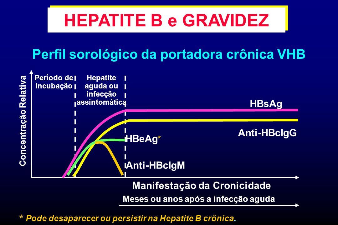 HEPATITE B e GRAVIDEZ Perfil sorológico da portadora crônica VHB HBsAg
