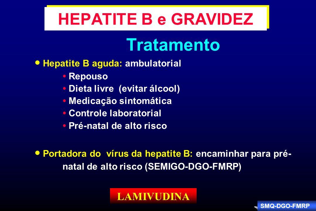 Tratamento HEPATITE B e GRAVIDEZ  Hepatite B aguda: ambulatorial