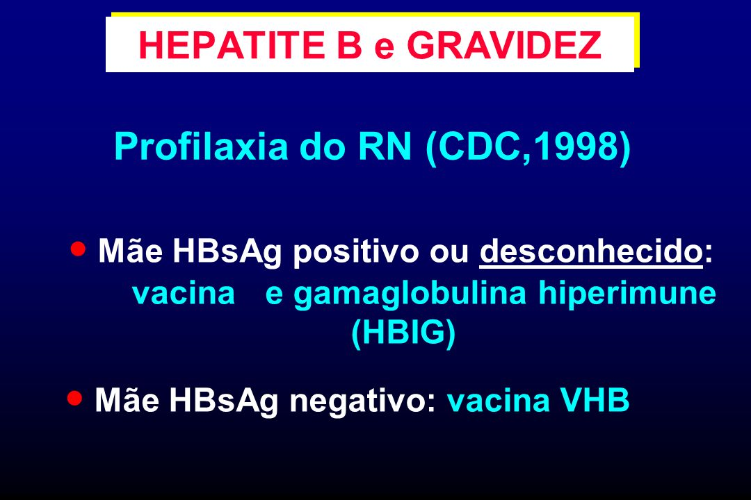 Profilaxia do RN (CDC,1998) HEPATITE B e GRAVIDEZ