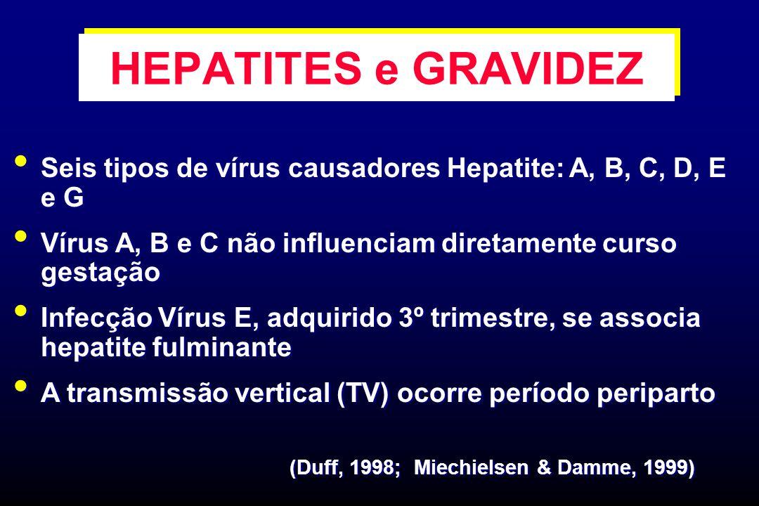HEPATITES e GRAVIDEZ Seis tipos de vírus causadores Hepatite: A, B, C, D, E e G. Vírus A, B e C não influenciam diretamente curso gestação.