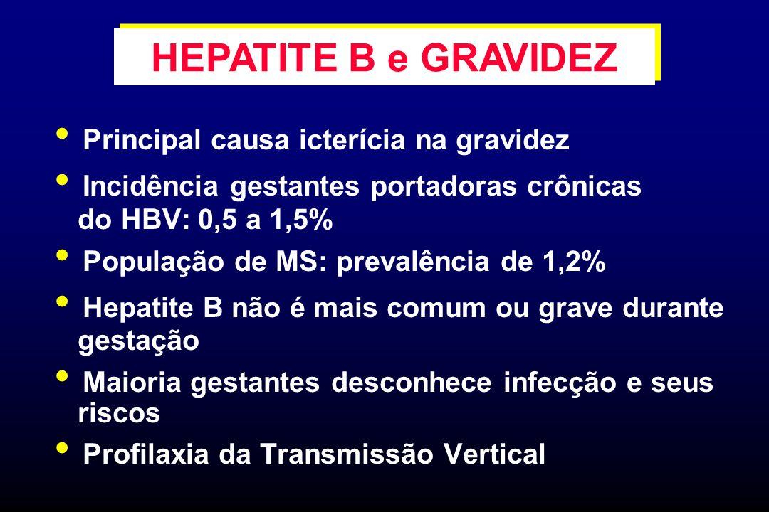 HEPATITE B e GRAVIDEZ Principal causa icterícia na gravidez