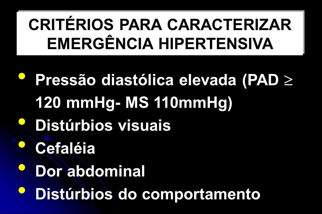 CRITÉRIOS PARA CARACTERIZAR EMERGÊNCIA HIPERTENSIVA