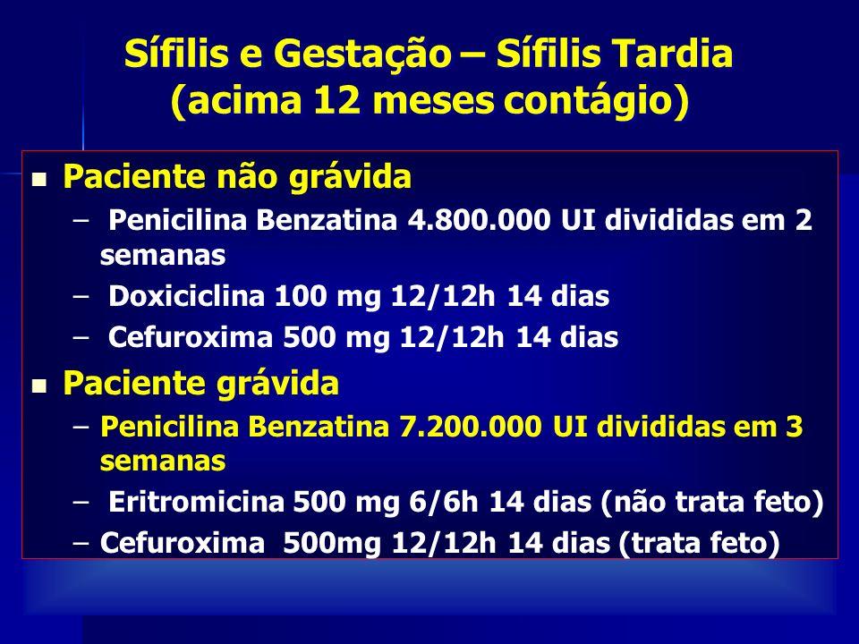 Sífilis e Gestação – Sífilis Tardia (acima 12 meses contágio)