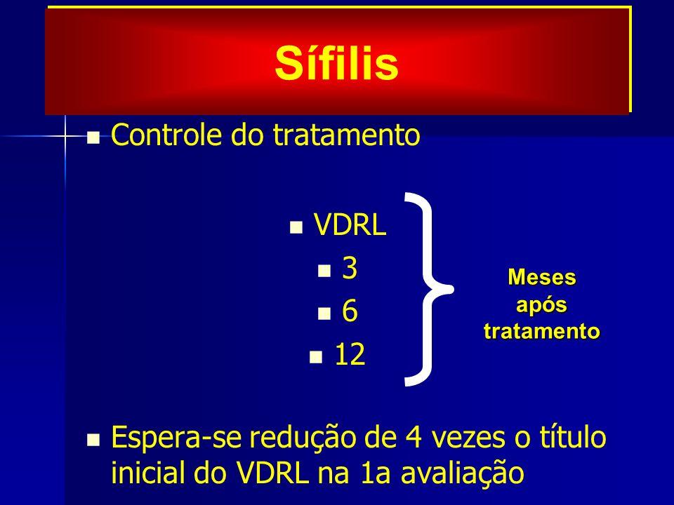 Sífilis Controle do tratamento VDRL 3 6