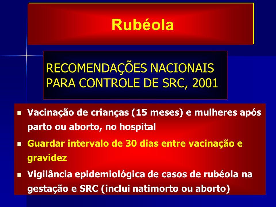 RECOMENDAÇÕES NACIONAIS PARA CONTROLE DE SRC, 2001