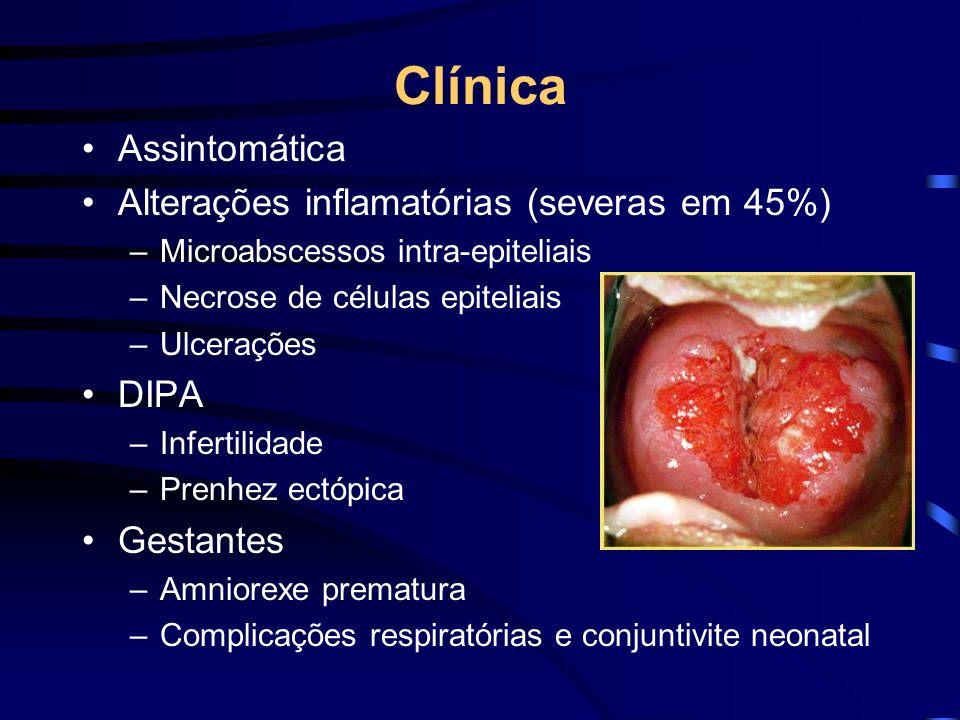 Clínica Assintomática Alterações inflamatórias (severas em 45%) DIPA