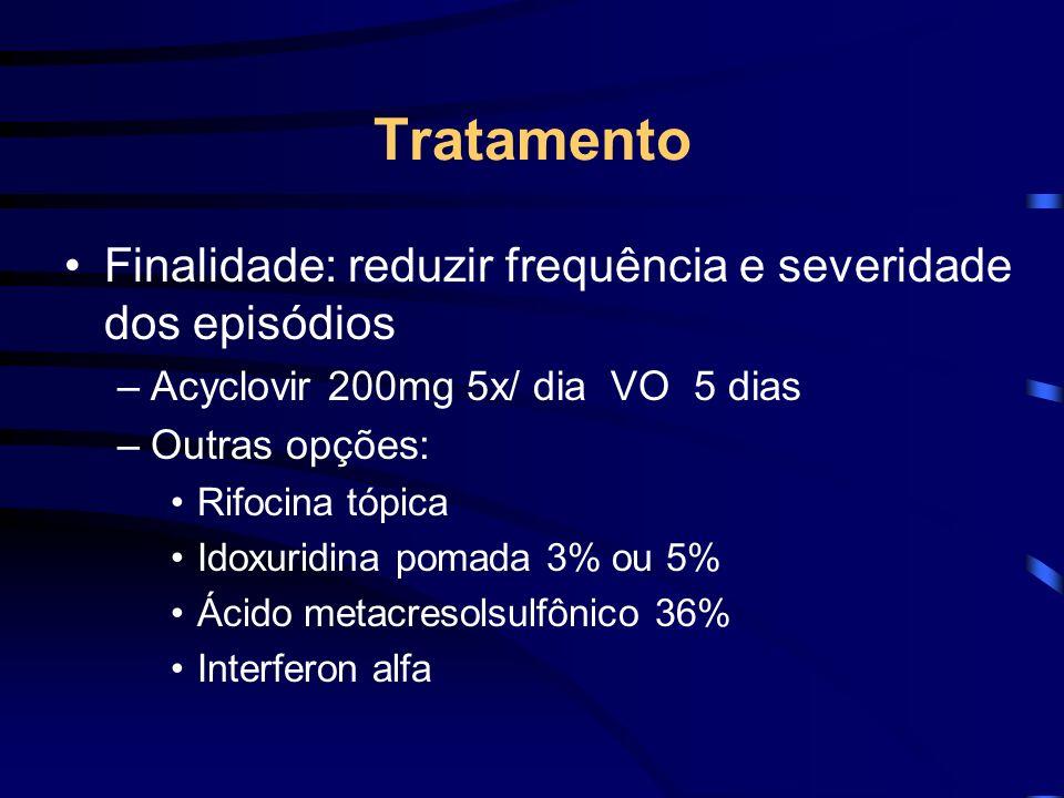 Tratamento Finalidade: reduzir frequência e severidade dos episódios