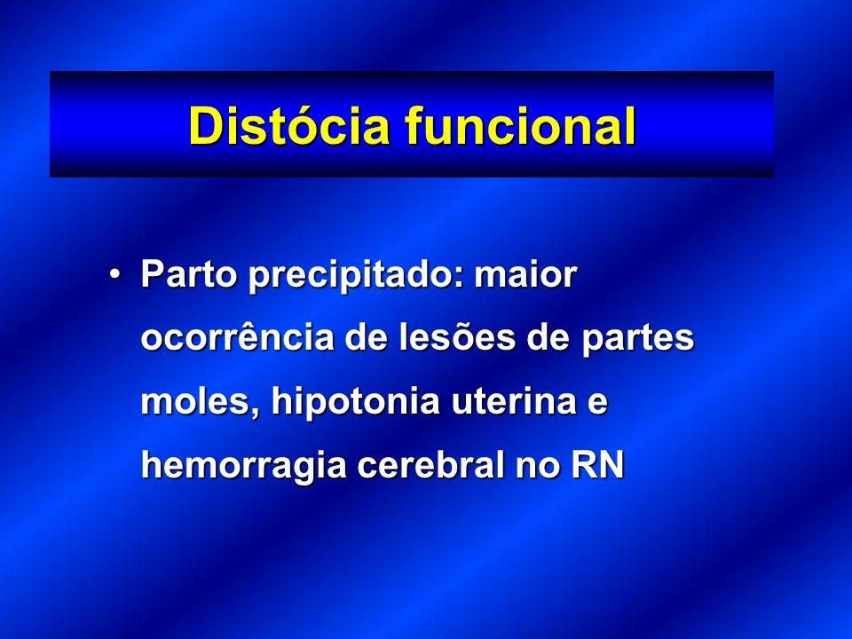 Distócia funcional Parto precipitado: maior ocorrência de lesões de partes moles, hipotonia uterina e hemorragia cerebral no RN.