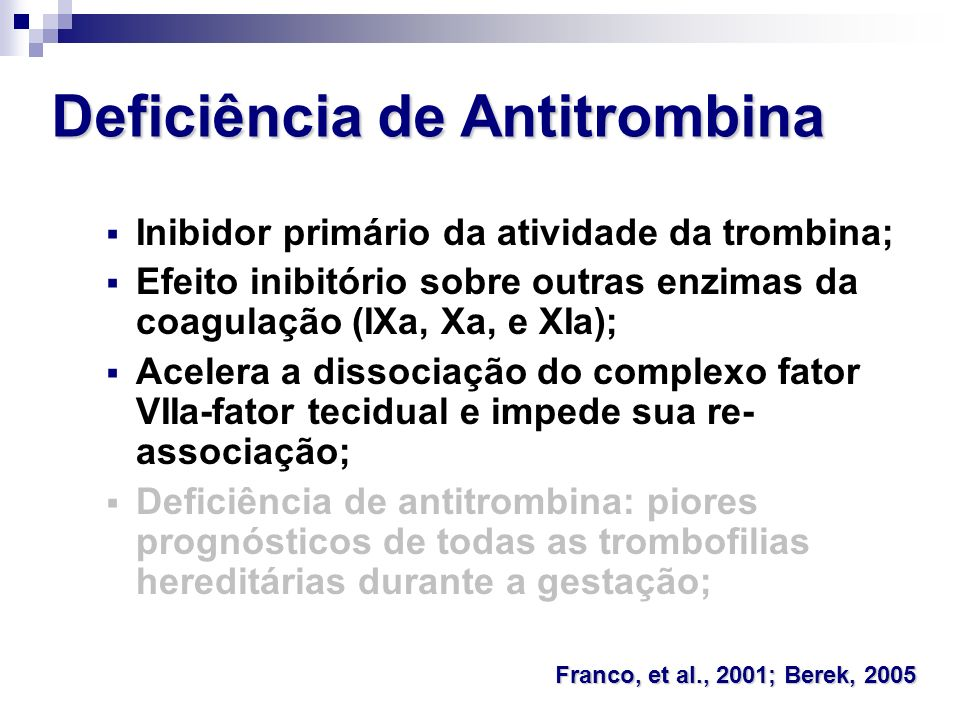 Deficiência de Antitrombina