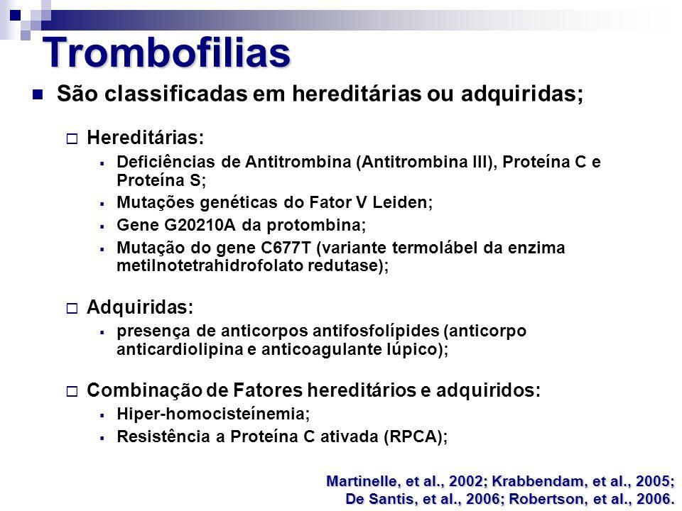Trombofilias São classificadas em hereditárias ou adquiridas;