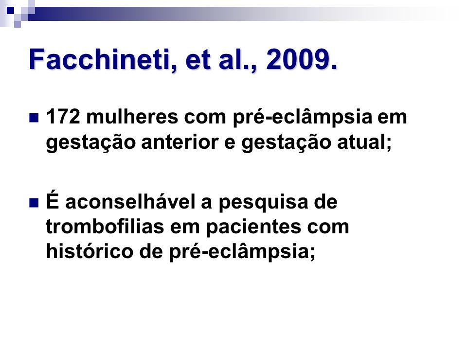 Facchineti, et al., 2009. 172 mulheres com pré-eclâmpsia em gestação anterior e gestação atual;