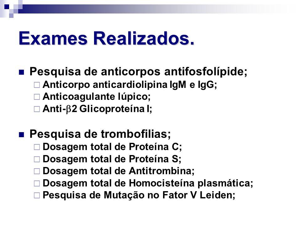 Exames Realizados. Pesquisa de anticorpos antifosfolípide;
