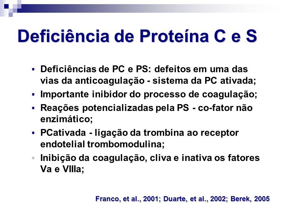 Deficiência de Proteína C e S