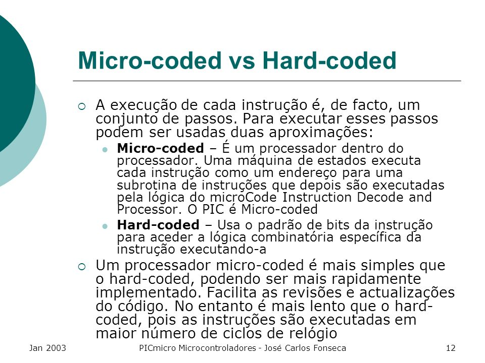 Micro-coded vs Hard-coded