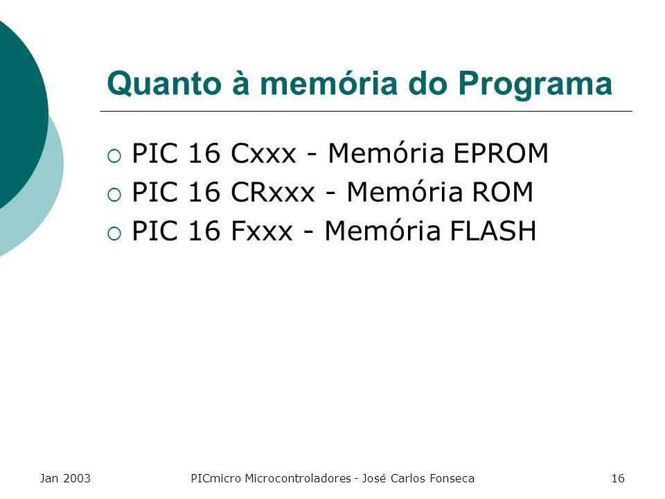 Quanto à memória do Programa