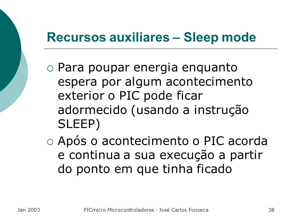 Recursos auxiliares – Sleep mode