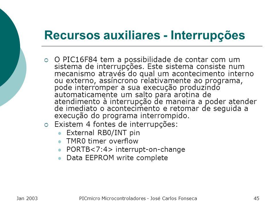 Recursos auxiliares - Interrupções