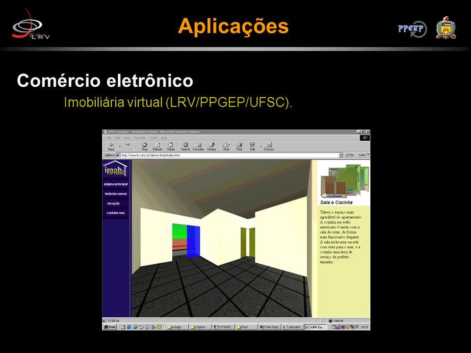 Aplicações Comércio eletrônico Imobiliária virtual (LRV/PPGEP/UFSC).