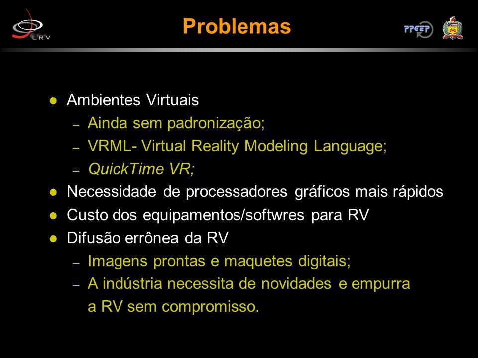Problemas Ambientes Virtuais Ainda sem padronização;