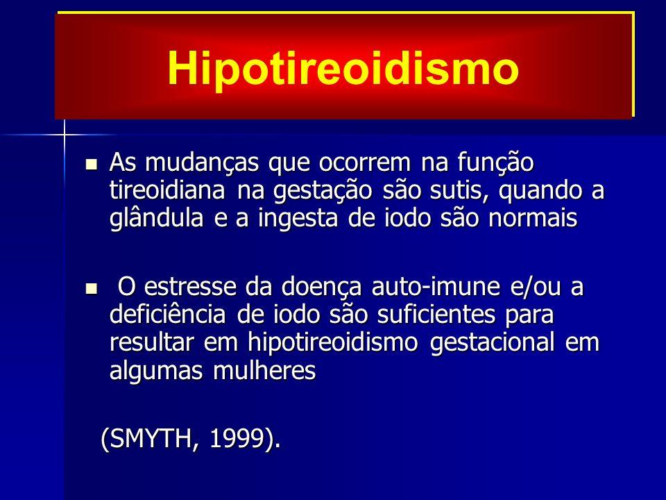 Hipotireoidismo As mudanças que ocorrem na função tireoidiana na gestação são sutis, quando a glândula e a ingesta de iodo são normais.