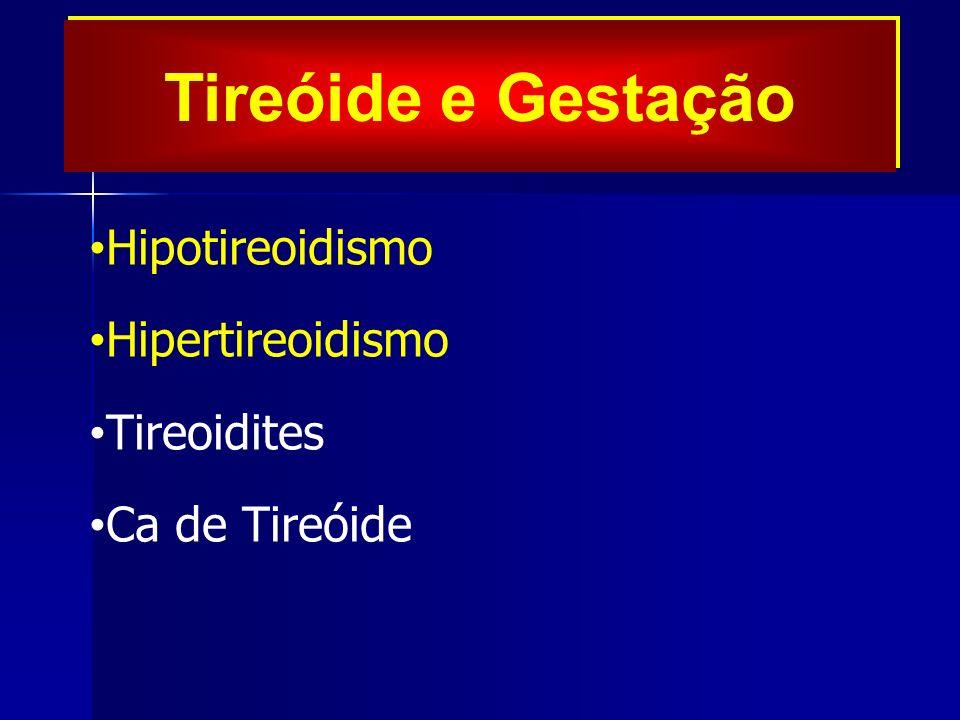 Tireóide e Gestação Hipotireoidismo Hipertireoidismo Tireoidites