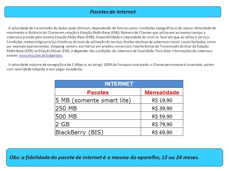 5 MB (somente smart lite) R$ 19,90 250 MB R$ 39,90 500 MB R$ 59,90