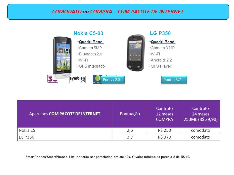 COMODATO ou COMPRA – COM PACOTE DE INTERNET