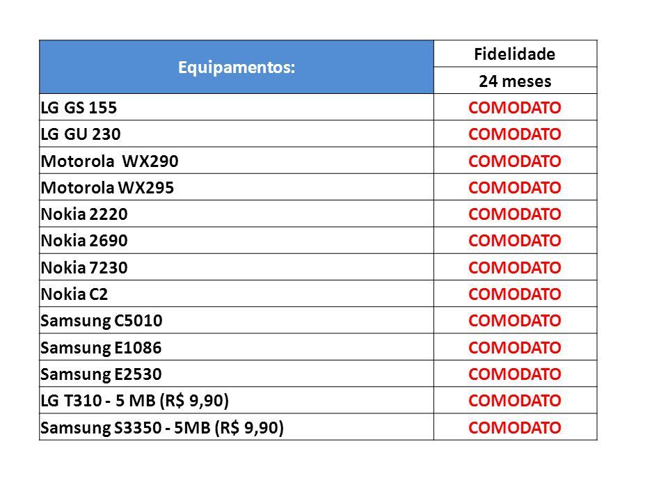 Equipamentos: Fidelidade. 24 meses. LG GS 155. COMODATO. LG GU 230. Motorola WX290. Motorola WX295.