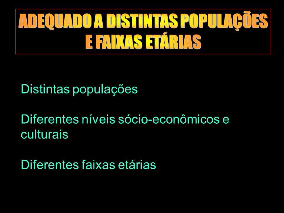 ADEQUADO A DISTINTAS POPULAÇÕES E FAIXAS ETÁRIAS
