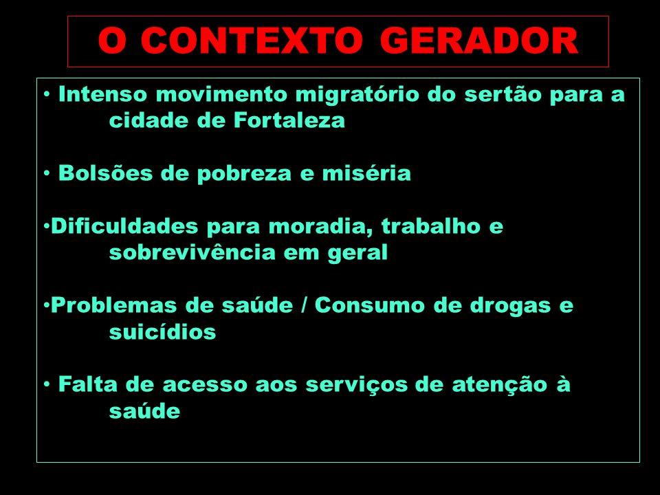 O CONTEXTO GERADOR Intenso movimento migratório do sertão para a cidade de Fortaleza. Bolsões de pobreza e miséria.