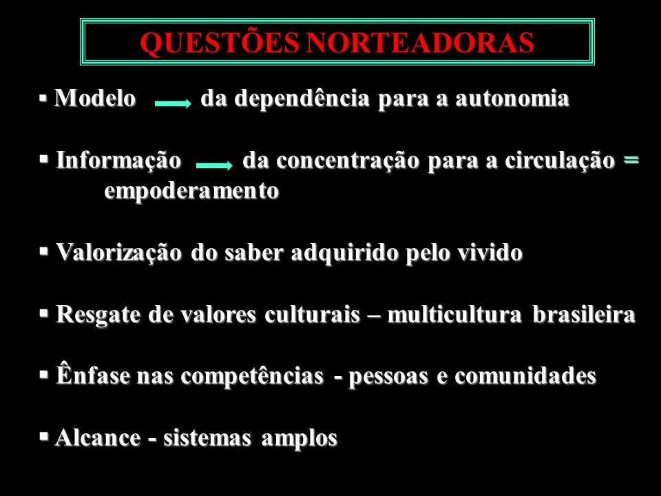 QUESTÕES NORTEADORASModelo da dependência para a autonomia. Informação da concentração para a circulação = empoderamento.