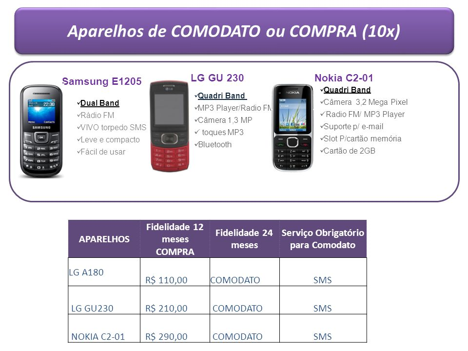 Aparelhos de COMODATO ou COMPRA (10x)